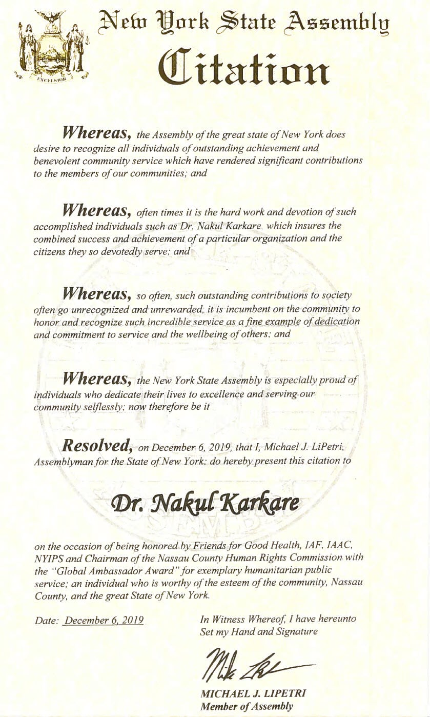NY State Assembly Citation